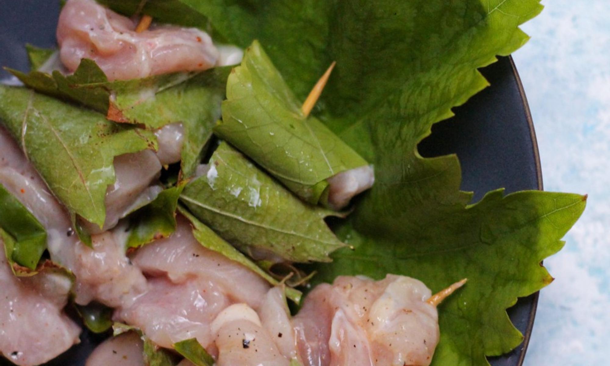 Recept: kip in druivenbladeren
